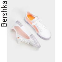Bershka女鞋2019新款休閑系帶網眼設計厚底板鞋小白鞋15204031001