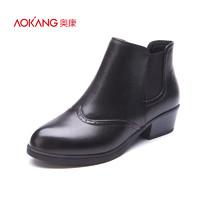 奧康女鞋冬季新品松緊時尚休閑牛皮短筒圓頭中跟短靴女靴