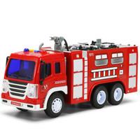 夢想星 兒童玩具車男孩消防車慣性工程車供水車1:16仿真模型玩具車可噴水早教燈光音樂生日禮物 *2件