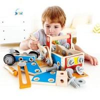 Hape益智玩具男孩拆裝玩具木質百變木匠工具盒炫酷螺母工作臺+湊單品