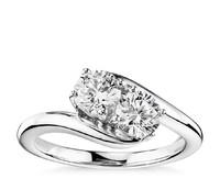 Blue Nile 14k白金单颗双石钻石戒指 1克拉总重量