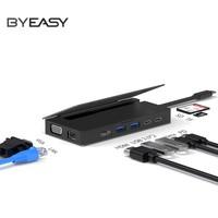 BYEASY 九合一Type-C扩展坞(Type-C*2+USB3.0*2+TF/SD+HDMI+VGA+千兆网卡)