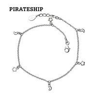 海盜船銀飾星月腳鏈925銀氣質韓版腳鏈女簡約學生森系個性日韓