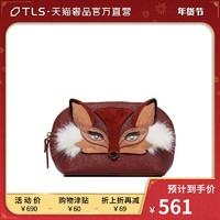 kate spade經典款酒紅色牛皮狐貍造型時尚女士拉鏈零錢包化妝包