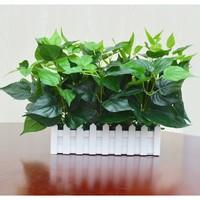 仿真綠植物假花草塑料插花束柵欄花藝套裝飾品客廳家居田園擺設件