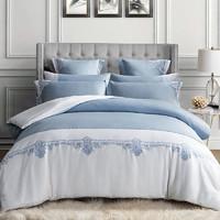 康爾馨五星級酒店床上四件套純棉60支貢緞全棉刺繡1.8m床簡約純色