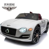 貝瑞佳(BeRica) 賓利正版授權嬰幼兒童電動車四輪 白四驅+液壓門+藍牙遙控+音樂早教+搖搖車