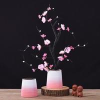 Hoatai Ceramic 華達泰 中式粉色漸變花瓶套裝(粉色漸變花瓶+粉梅)
