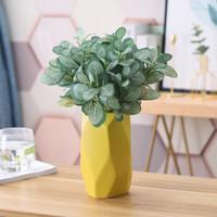 Hoatai Ceramic 華達泰 北歐黃色小號幾何花瓶 (含3束斑馬草)