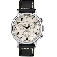 中亞Prime會員 : Timex 天美時 TWG012800QM Weekender Chrono 中性皮革表帶手表