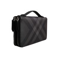 Burberry 巴寶莉 男士 40564231 黑色格紋雙拉鏈手拿包手包