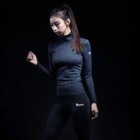 MSGD女運動健身跑步長袖 緊身衣淺灰色收腰速干訓練服 黑色 S *2件