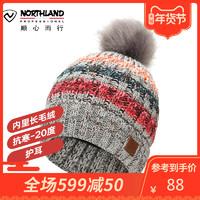 諾詩蘭19秋冬新款戶外時尚撞色保暖女士針織抓絨帽A082508