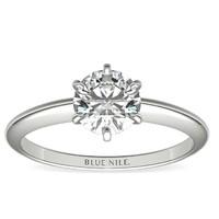 銀聯爆品日 : Blue Nile 經典六爪單石訂婚戒指 14k白金戒托(不含裸鉆)