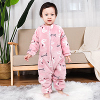 兒童連體睡袋單層雙層加厚嬰兒法蘭絨睡衣秋冬男女童防踢被家居服