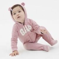 Gap嬰兒Logo徽標一體式連帽連體衣可愛熊耳497921