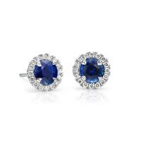 Blue Nile 18K白金 蓝宝石和微密钉钻石光环耳钉