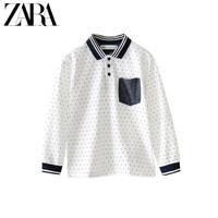 ZARA 新款 童裝男童 羅紋珠地布 POLO 衫 06462661250