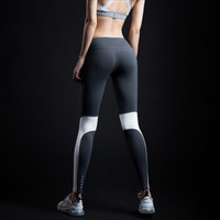 MSGD緊身褲 女子健身瑜伽長褲撞色拼接設計視覺顯瘦 Titanium Grey 鈦白灰 S(現貨開售 *2件