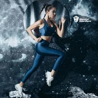 MSGD緊身褲女子緊身收腰提臀瑜伽訓練健身長褲 流光藍 *2件
