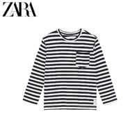 ZARA 新款 童裝男童 口袋飾條紋 T 恤 01716662070