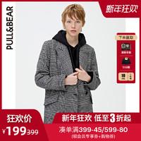 PULL&BEAR; 大衣女中長款人造羊毛格紋外套2019流行 09750311