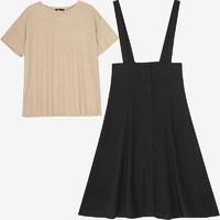 韓都衣舍 MR9021瓔 女士兩件套短袖A字背帶裙