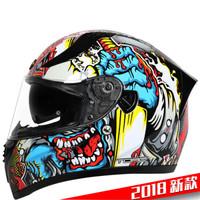 TORC摩托車頭盔雙鏡片公路跑盔時尚個性全盔 騎士裝備可配藍牙 男女通用全盔