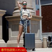美旅拉桿箱新品 飛機萬向輪靜音行李箱男 時尚商務出差旅行箱女密碼箱登機箱子BJ9 銀色 24英寸