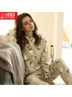 紅豆(HODO)居家睡衣秋冬女式法蘭絨睡衣套裝女士小清新家居服可外穿