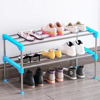 蝸家簡易鞋架家用多層經濟型宿舍門口防塵收納鞋柜客廳玄關鞋架子K223-K227(K223藍色 組合鞋架)