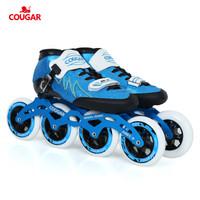 有券的上 : COUGAR 美洲獅 速滑鞋成人專業溜冰鞋成年輪滑男女直排大輪 藍色 41