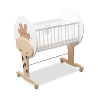 法國babysing嬰兒床 實木多功能寶寶搖籃床進口松木拼接大床BB床 長頸鹿 90x45cm