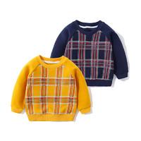 印象童年童装男童加绒格子卫衣儿童时尚新款宝宝长袖上衣冬装 *5件