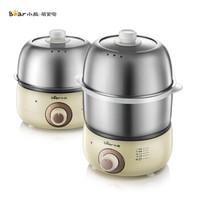 小熊(Bear)煮蛋器雙層家用多功能煮雞蛋器蒸蛋羹機迷你不銹鋼蒸蛋器煎蛋器早餐機ZDQ-B14M2 *3件