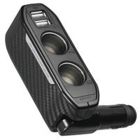 京東PLUS會員 : 日本快美特車載充電器插座手機汽車點煙器 USB接口一拖二DZ270C *3件