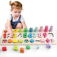 京東PLUS會員 : 巧之木(QZMTOY) 嬰兒童玩具 男孩女孩寶寶早教益智玩具 彩色數字形狀對數板兒童生日禮物