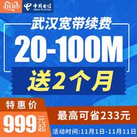 武漢電信寬帶繳費 20-100M光纖寬帶續費