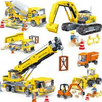 古迪(gudi)積木拼裝小顆粒兒童工程車大童男孩挖掘機6-10歲以上玩具 五合一 工程車大部隊 *3件