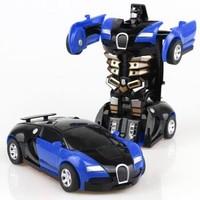 億創空間 兒童玩具車一鍵變形玩具金剛5 寶貝男孩慣性撞擊PK汽車機器人變形車 款式顏色隨機