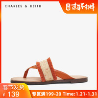 CHARLES&KEITH  CK1-70380727 拉菲草飾夾趾涼拖鞋 *2件