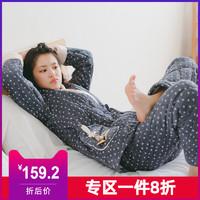 芬騰千線藝珊瑚絨夾棉女睡衣冬新款加厚三層保暖法蘭絨家居服套裝