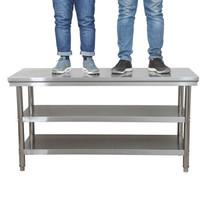不銹鋼操作臺工作臺飯店商用打荷酒店廚房切菜桌子包裝面案板 加厚100*60*80三層