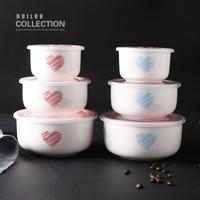 創意陶瓷保鮮盒家用保鮮碗三件套便攜式便當盒