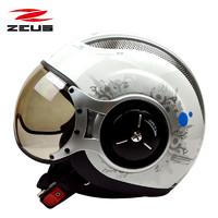 中國臺灣瑞獅ZEUS摩托車頭盔男女太子盔復古半覆式電動車冬季半盔