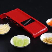 美之扣 切菜神器多功能切絲器家用廚房護手黃瓜土豆切片刨絲機擦絲器 紅色3刀(基礎款,無容器,無護手器)