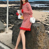 紅色連衣裙春裝新款2020年小個子拜年裙仙女內搭毛衣裙秋冬連衣裙