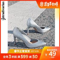 Stradivarius 2020春新款女士婚鞋銀色尖頭高跟鞋單鞋19152570092