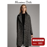 秋冬大促 Massimo Dutti 女裝 秋冬流行黑色斑紋大衣中長款 06443519800