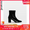 Stradivarius音符亮面漆皮瘦瘦靴高跟短靴粗跟女靴 12936041040